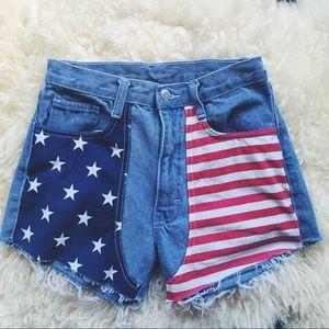 Vintage American Flag Cut Off Denim Shorts